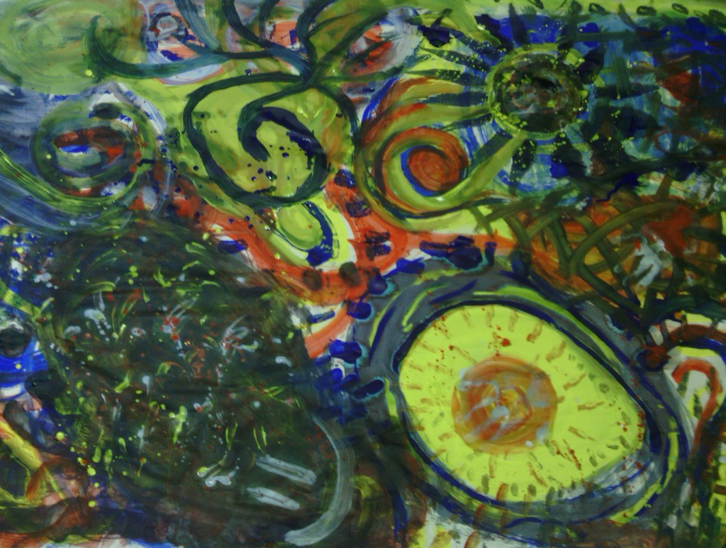 """Collective painting from the pilot of """"Emergence: An Intimate Performance"""" in March."""