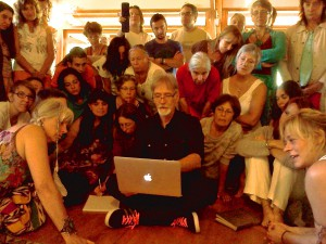 Workshop participants gather around Crows Nest founder C. Michael Smith while teaching in Payzac, France. September 2014.